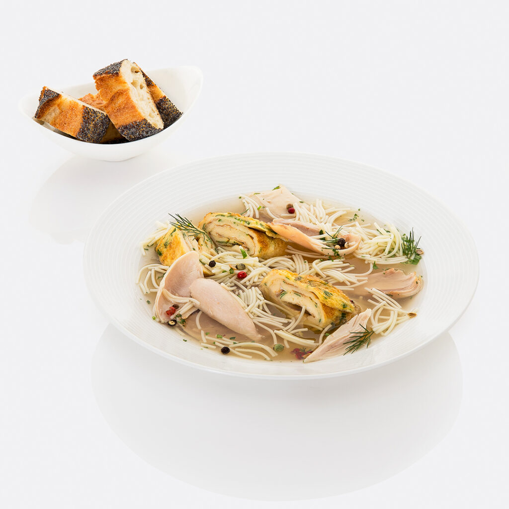 Chicken soup with vermicelli and omelet